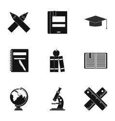 Children education icons set simple style vector