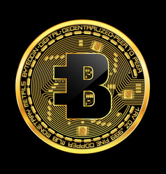 crypto currency bytecoin golden symbol vector image vector image