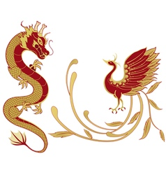 Dragon and phoenix for chinese symbolism vector image