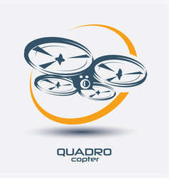 Drone icon quadrocopter stylized symbol vector
