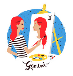 Gemini zodiac sign vector
