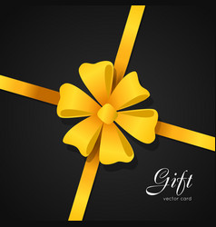 Gift card yellow bow in center of picture vector