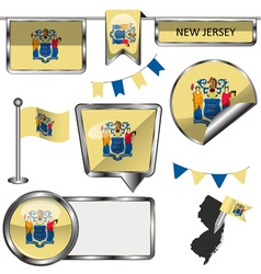 Glossy icons with New Jerseyan flag vector image
