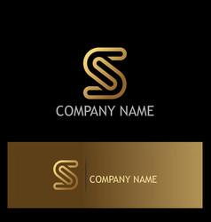 gold letter s line logo vector image