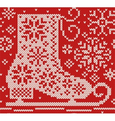 Knitted seamless northern pattern with skate vector image