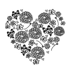 Monochrome silhouette vintage heart with pattern vector