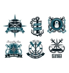 Retro marine and nautical heraldic emblems vector image vector image