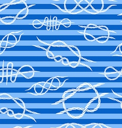 Seamless background of knots at sea striped vector