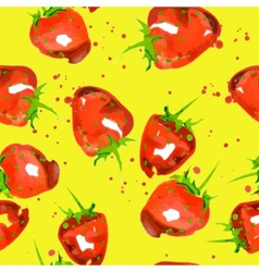 seamless pattern of watercolor strawberry vector image vector image