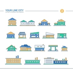 Set of line flat design buildings icons vector image vector image