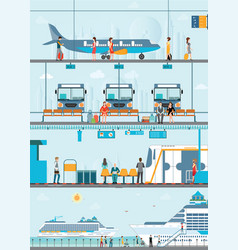 set of public passenger transport vector image vector image