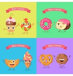 Smiling characters set of funny sweets flat vector