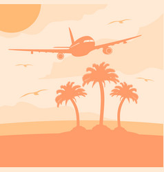 summer background card with plane vector image