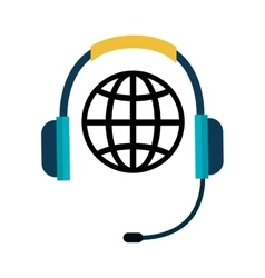 telephone headset and global sphere icon vector image