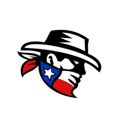 Texas bandit cowboy side retro vector