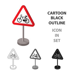 warning road sign icon in cartoon style isolated vector image vector image
