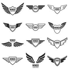 Winged emblems frames icons angel and phoenix vector