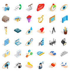 Work space icons set isometric style vector