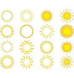 Yellow suns vector image vector image