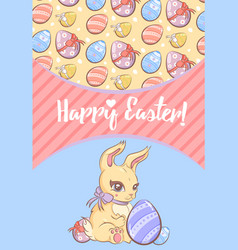 greeting happy easter template vector image