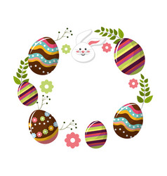 eggs easter with branches plant and face rabbit vector image