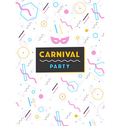 Carnival poster abstract memphis 80s 90s style vector