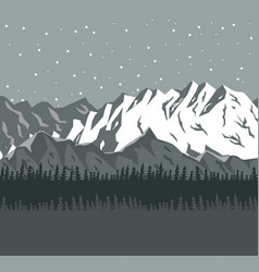 Monochrome scene landscape background of far snowy vector