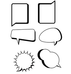 comic bubbles text boxes set with blank speech vector image