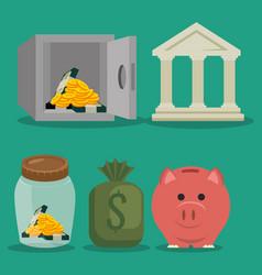 set saving money icon vector image