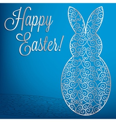 Filigree bunny happy easter card in format vector