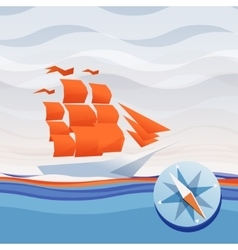 Ship sea waves and compass vector