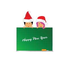 Happy new year kids with red hat vector