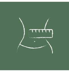 Waist with measuring tape icon drawn in chalk vector