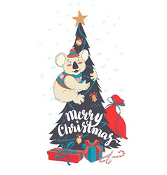 Funny merry christmas card with koala wearing cute vector
