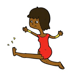 Comic cartoon happy woman kicking vector