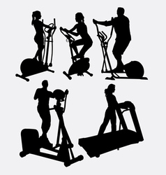 Fitness gymnastic sport male and female silhouette vector