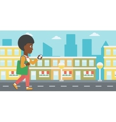 Woman walking with smartphone vector