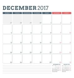 Calendar planner template for december 2017 week vector
