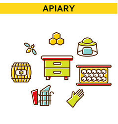 Apiary line icons vector