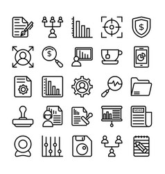 Business and office line icons 20 vector