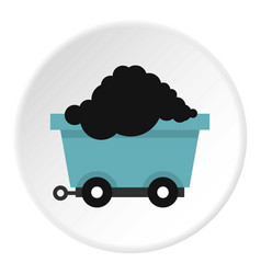 Cart on wheels with coal icon circle vector