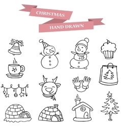 Christmas with hand draw vector