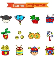 Element Chinese of icons vector image
