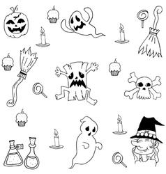 Halloween element collection doodle vector