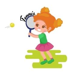 Happy girl playing tennis kids sport childrens vector