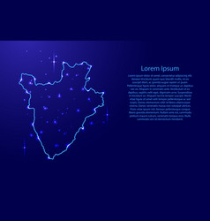 Map burundi from the contours network blue vector
