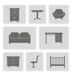 monochrome icons with furniture vector image