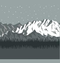 monochrome scene landscape background of far snowy vector image