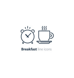 morning tea cup icon alarm clock breakfast coffee vector image