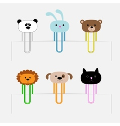 Paperclips set with animal heads Panda rabit dog vector image